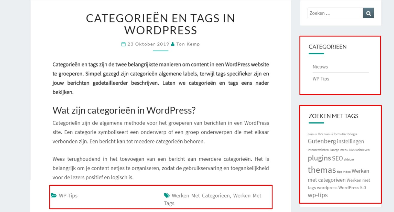 Werken met categorieen en tags in Wordpress 2